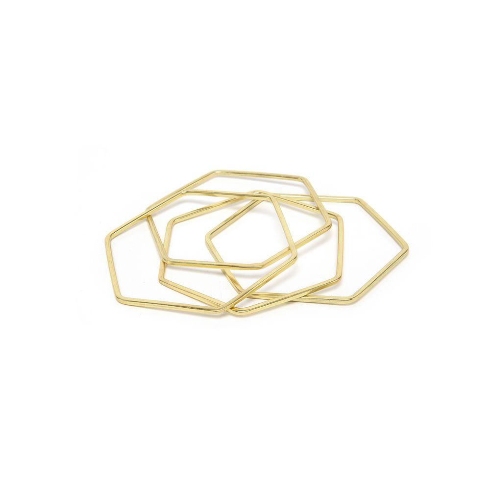 Hexagon bangle bracelet set 4 pcs Gold VestoPazzo