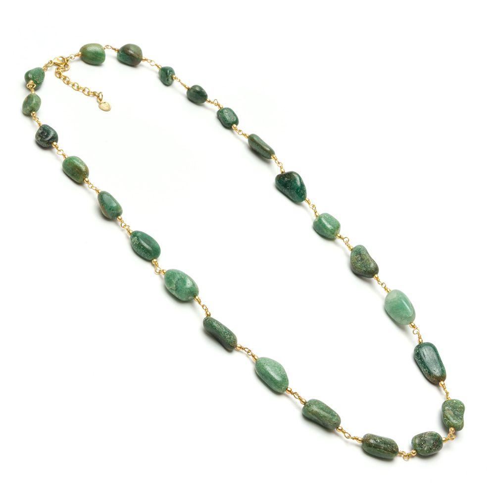 Green agate stones necklace Green VestoPazzo