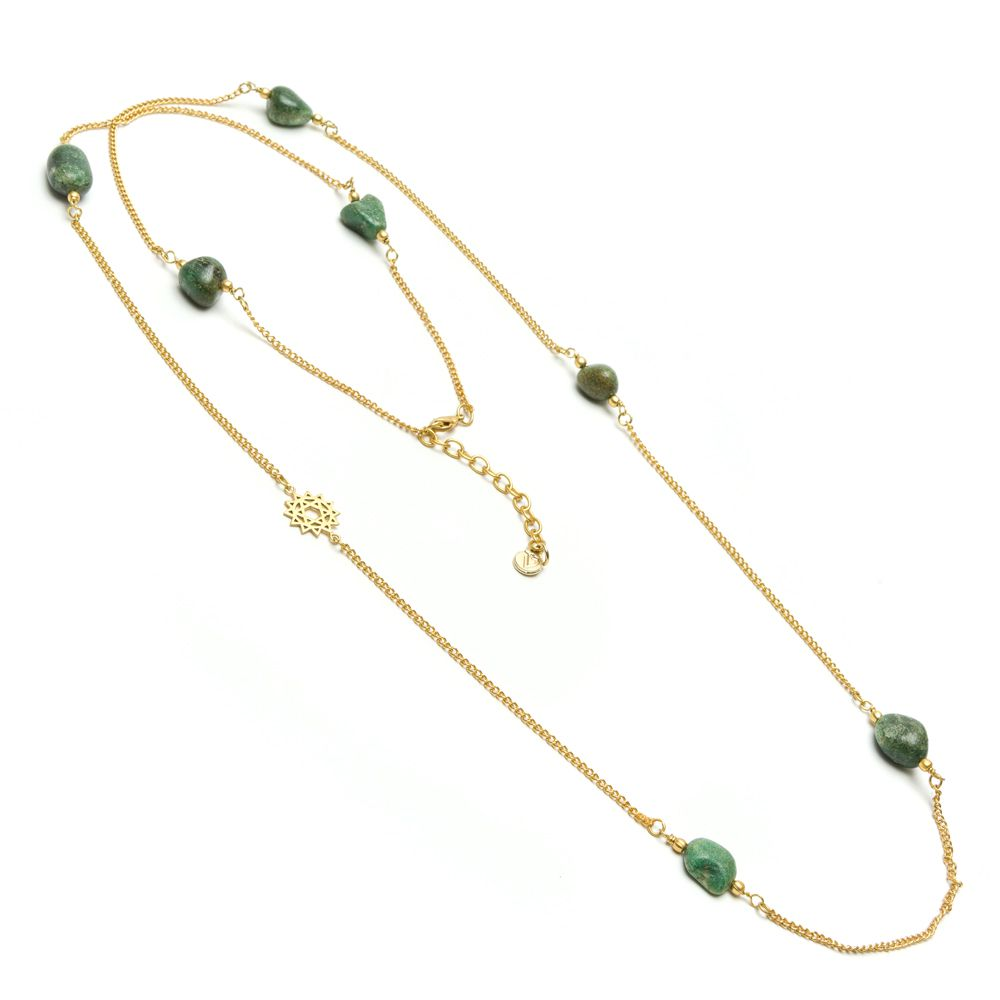 Green agate lotus necklace Green VestoPazzo