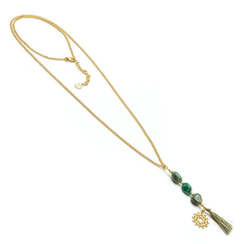 3 green agate stones necklace Green VestoPazzo