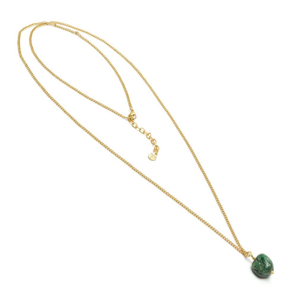 Long green agate pendant necklace Gold VestoPazzo