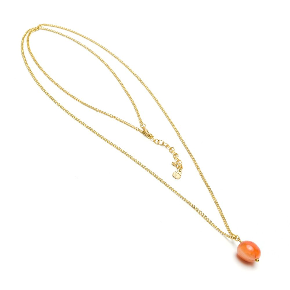 Long carnelian pendant necklace Brown VestoPazzo