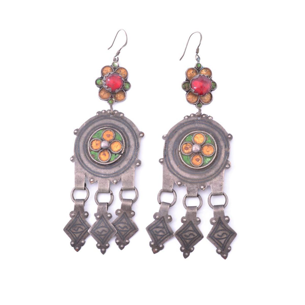 Tinzit 03 drop earrings Red BRASS Gioielli