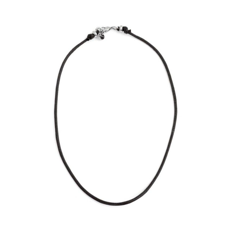 Burnished steel cord necklace Black Marlù