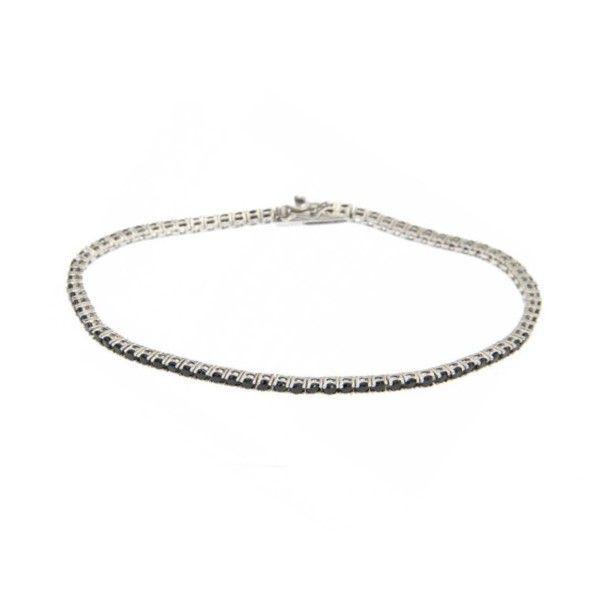 Silver tennis bracelet black 2 mm Black BRASS Gioielli