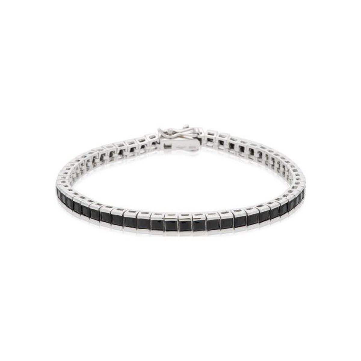 Tennis Q 3 mm, Silver bracelet Black BRASS Gioielli