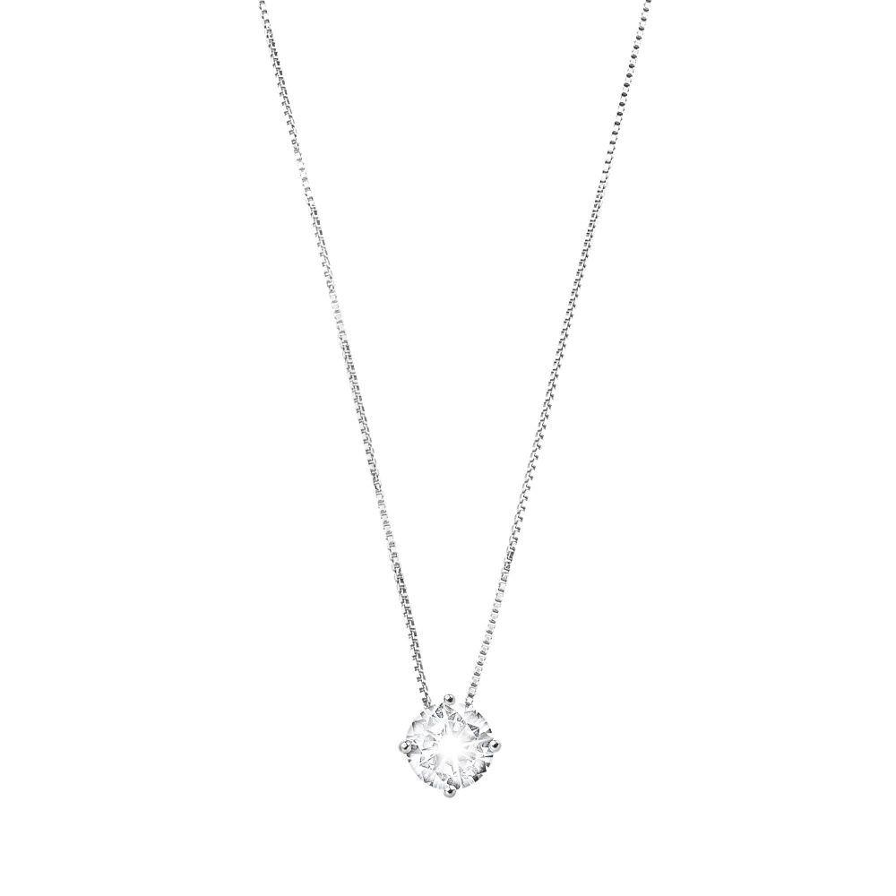 Cubic Zirconia 6 mm, silver necklace White BRASS Gioielli