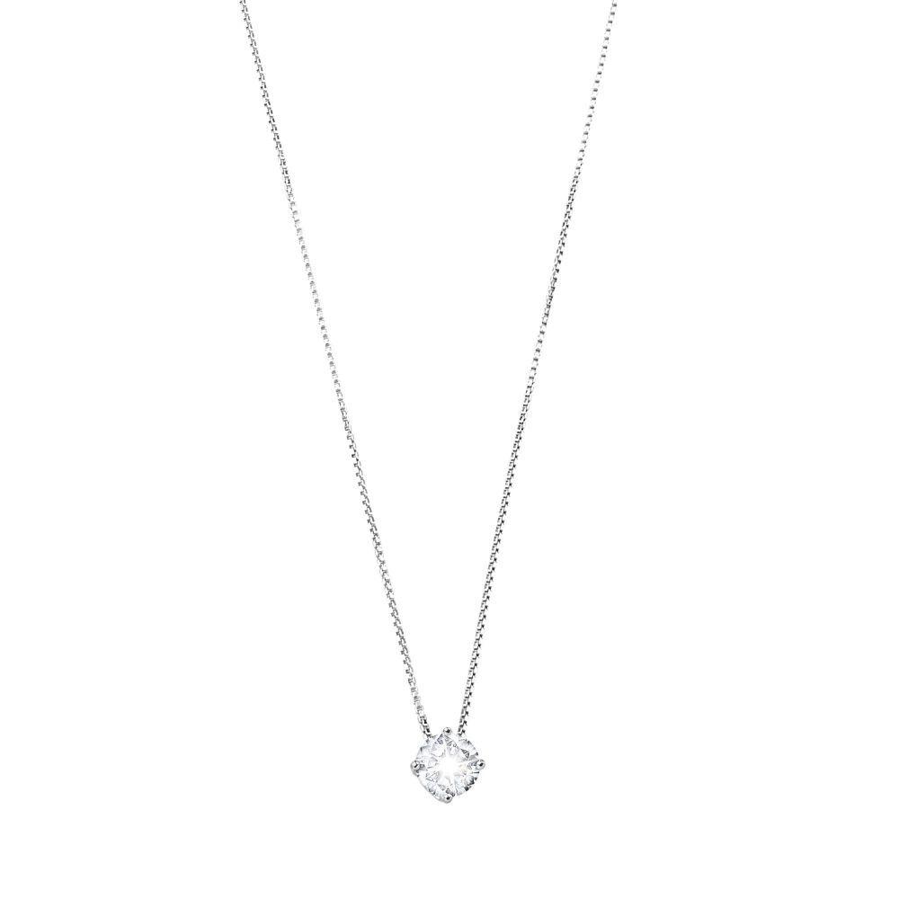 5 mm zirconia, silver necklace White BRASS Gioielli