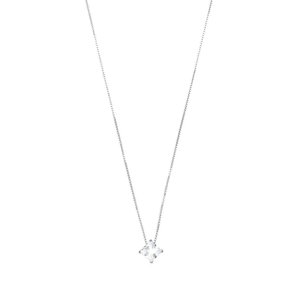 4 mm Q cubic zirconia, silver necklace White BRASS Gioielli