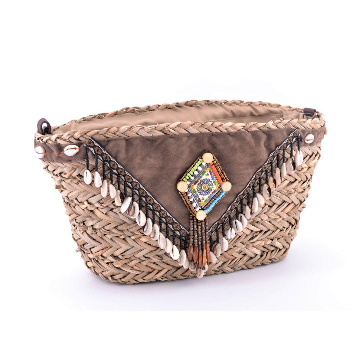 Gaia straw bag Brown BRASS Workshop
