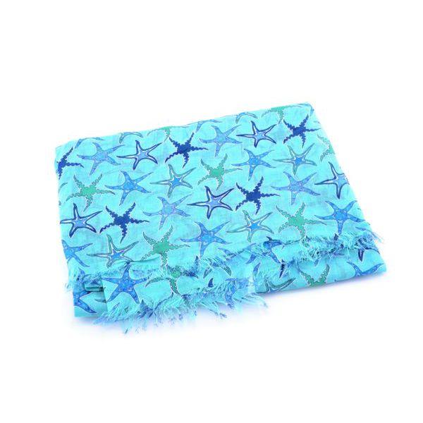 Starfish, cotton Pareo Blue BRASS Workshop