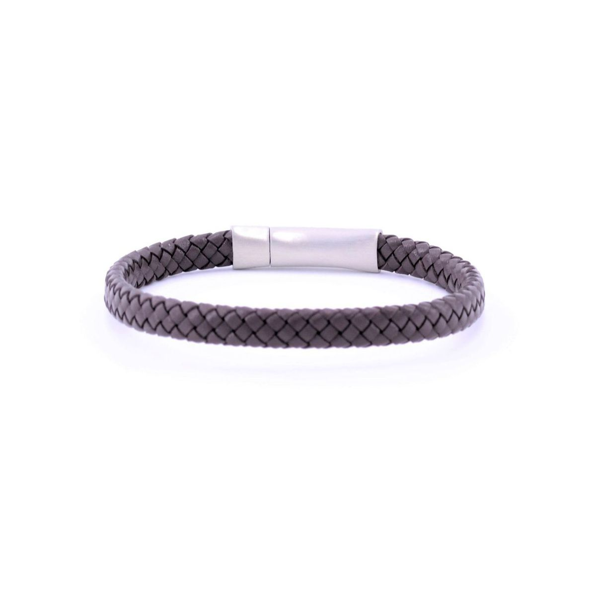 Flat braided leather bracelet Brown BRASS Workshop