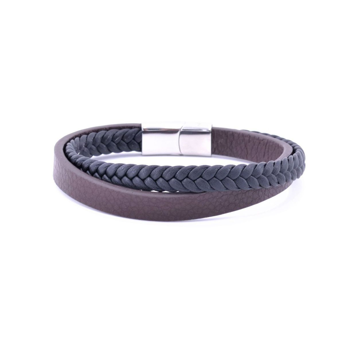 Double leather bracelet Black BRASS Workshop