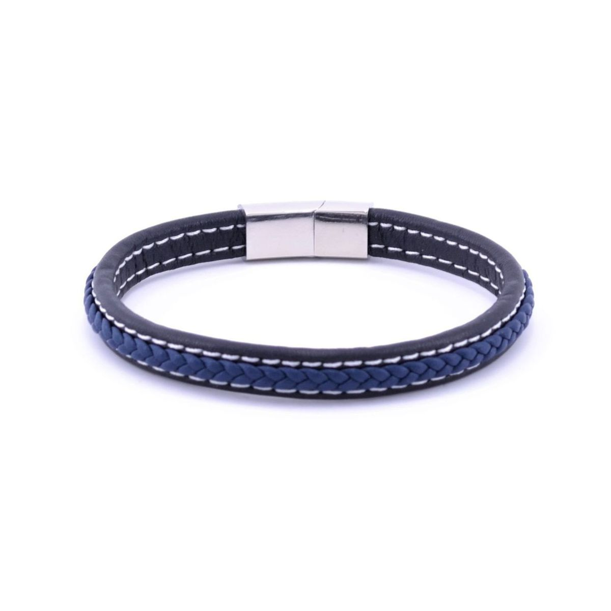 Blue leather bracelet Blue BRASS Workshop