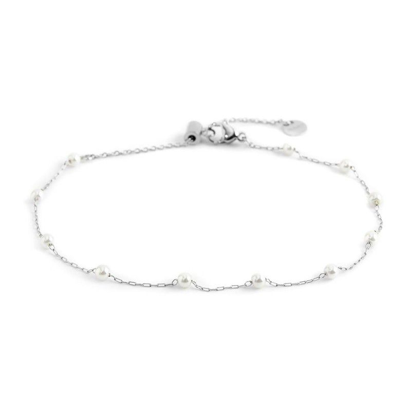 white pearls, Steel Anklet White Marlù