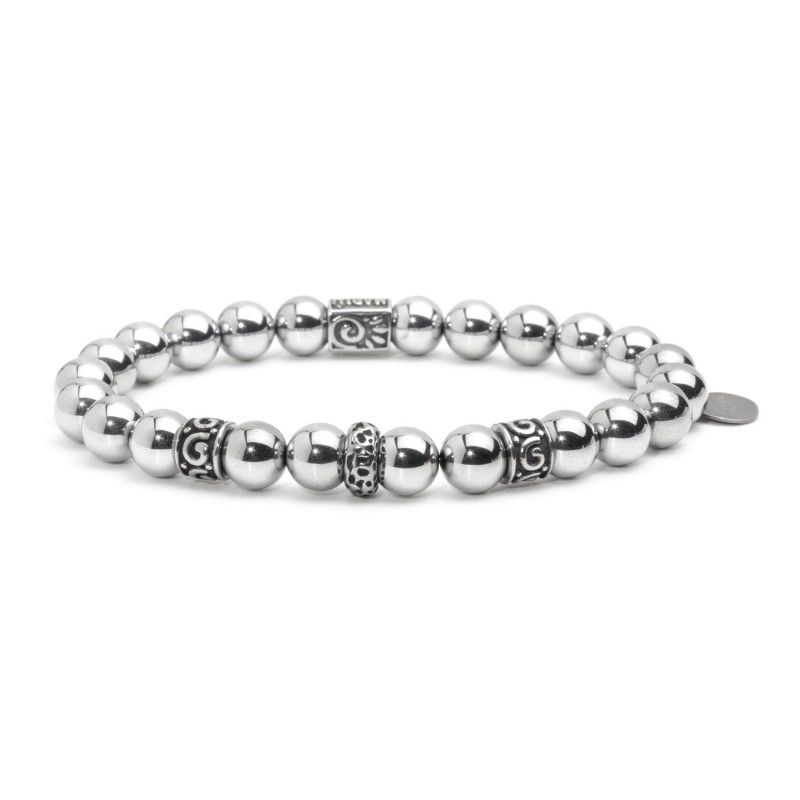Elastic hematite bracelet 3 Steel Marlù