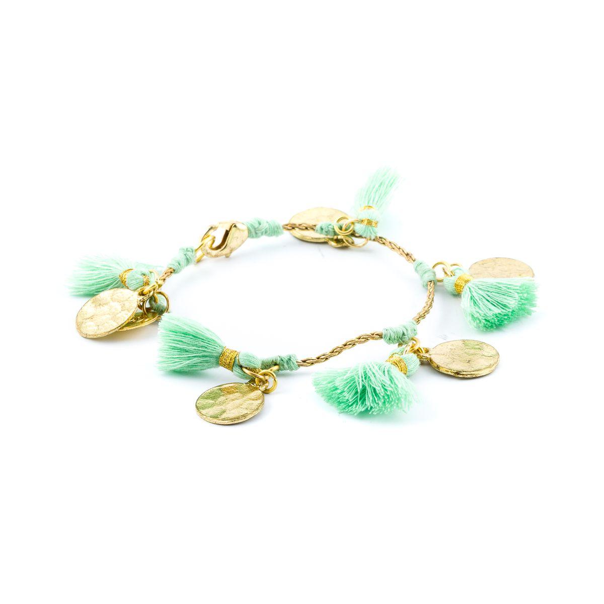 Tassels, Brass Bracelet Green House Of Tuhina