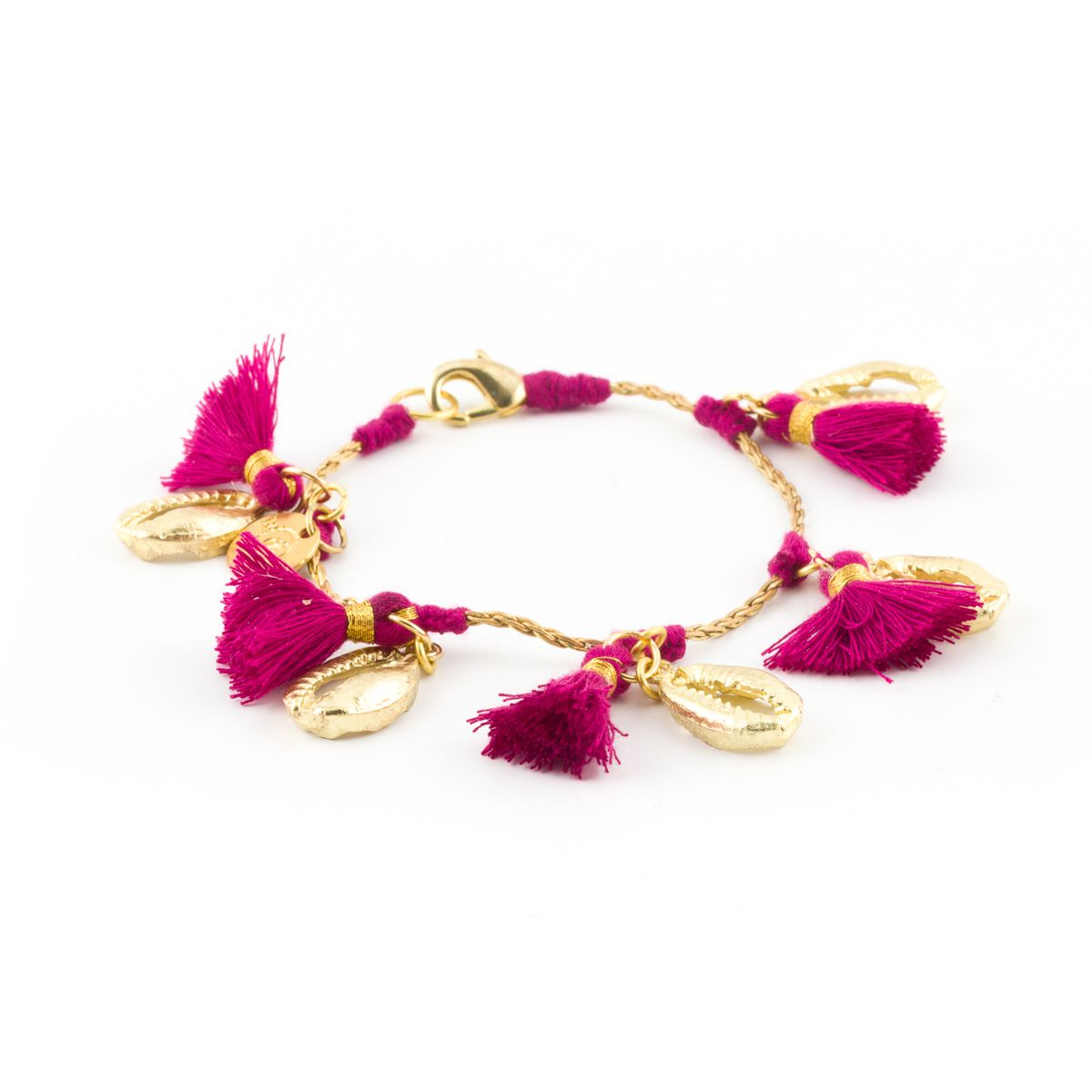Tassels and shells, Brass bracelet Fuxia House Of Tuhina