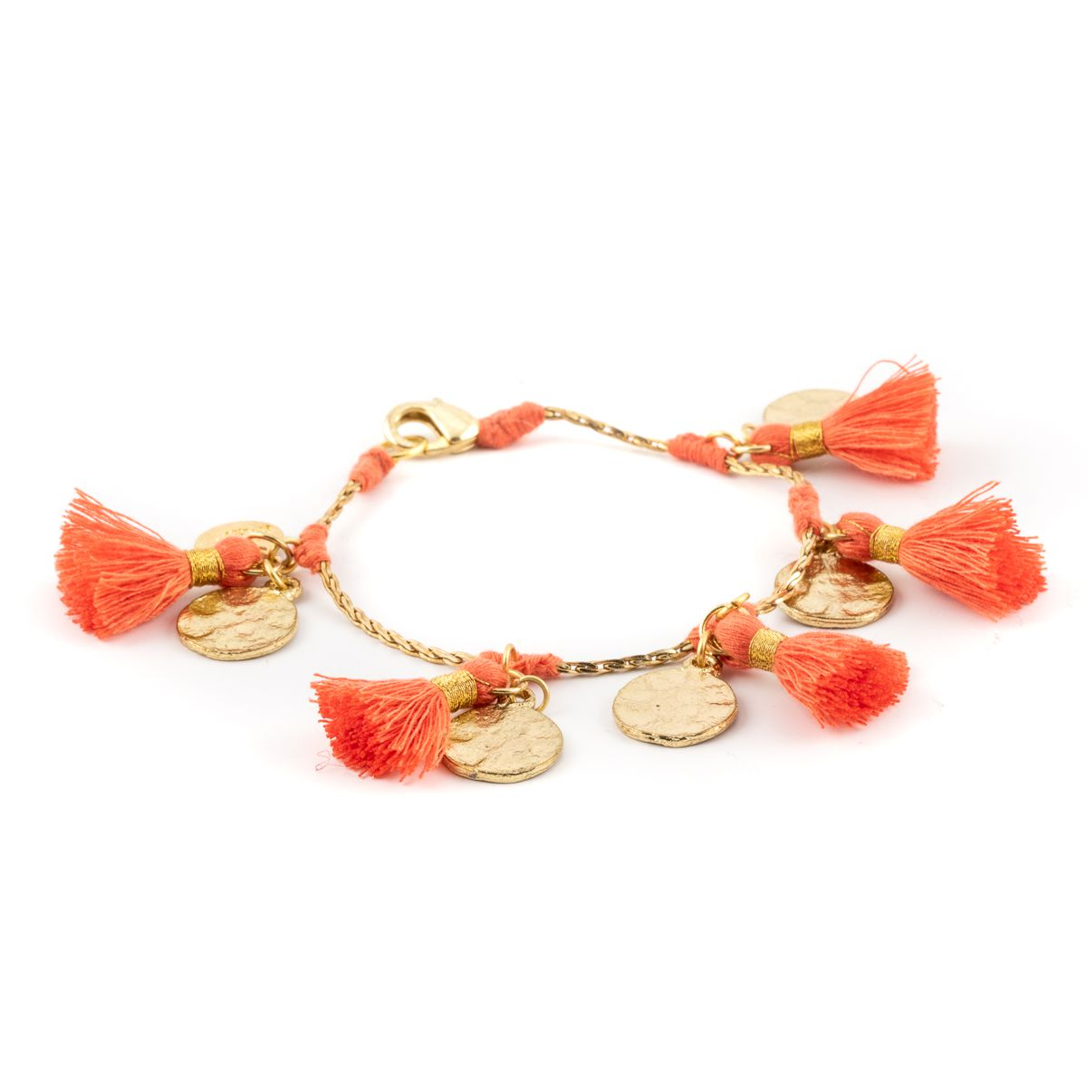 Tassels & coins,brass bracelet Orange House Of Tuhina