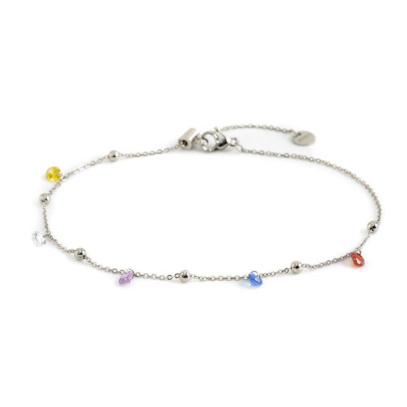 Crystals and spheres, steel anklet Silver Marlù