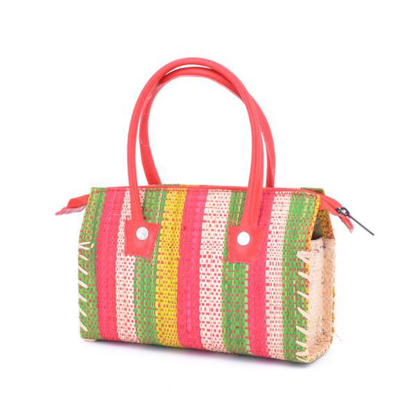 1. Raffia striped satchel bag Orange VestoPazzo