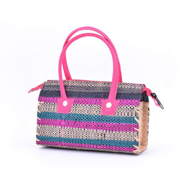 1. Raffia striped satchel bag Purple VestoPazzo