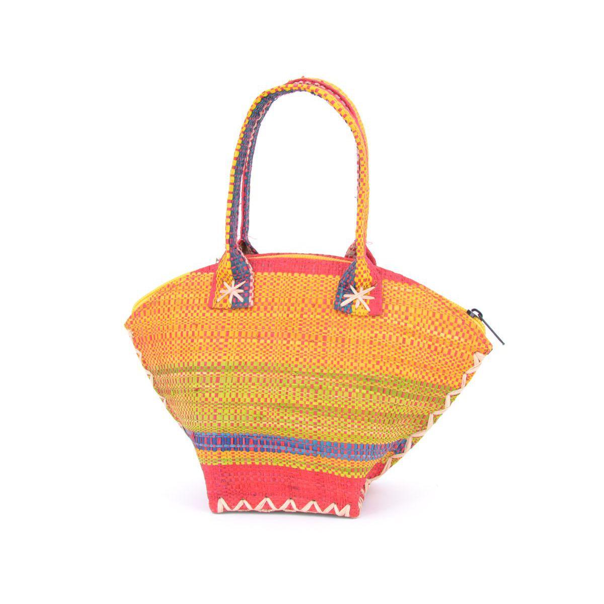 1. Color striped raffia handbag Yellow VestoPazzo