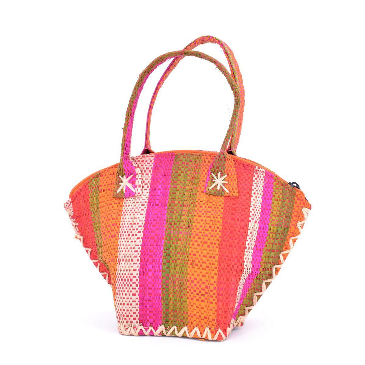 1. Color striped raffia handbag Orange VestoPazzo
