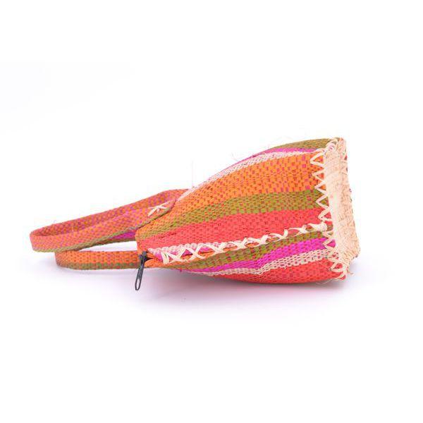 2. Color striped raffia handbag Orange VestoPazzo