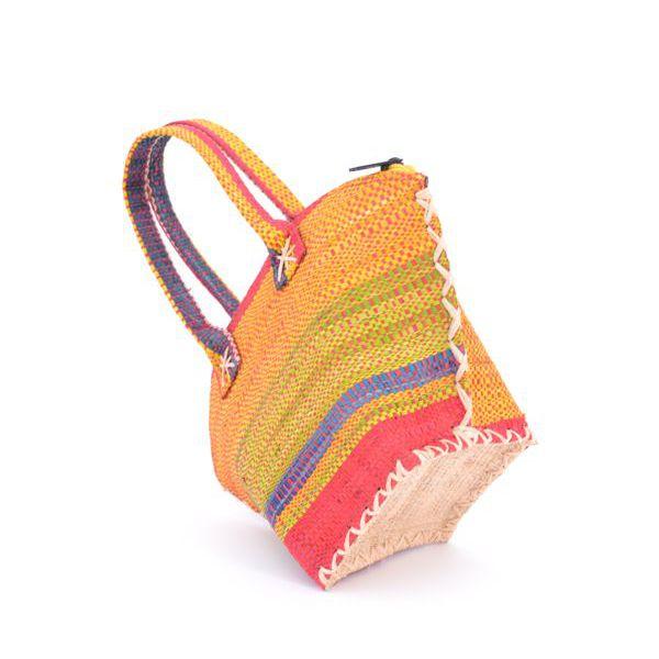2. Color striped raffia handbag Yellow VestoPazzo