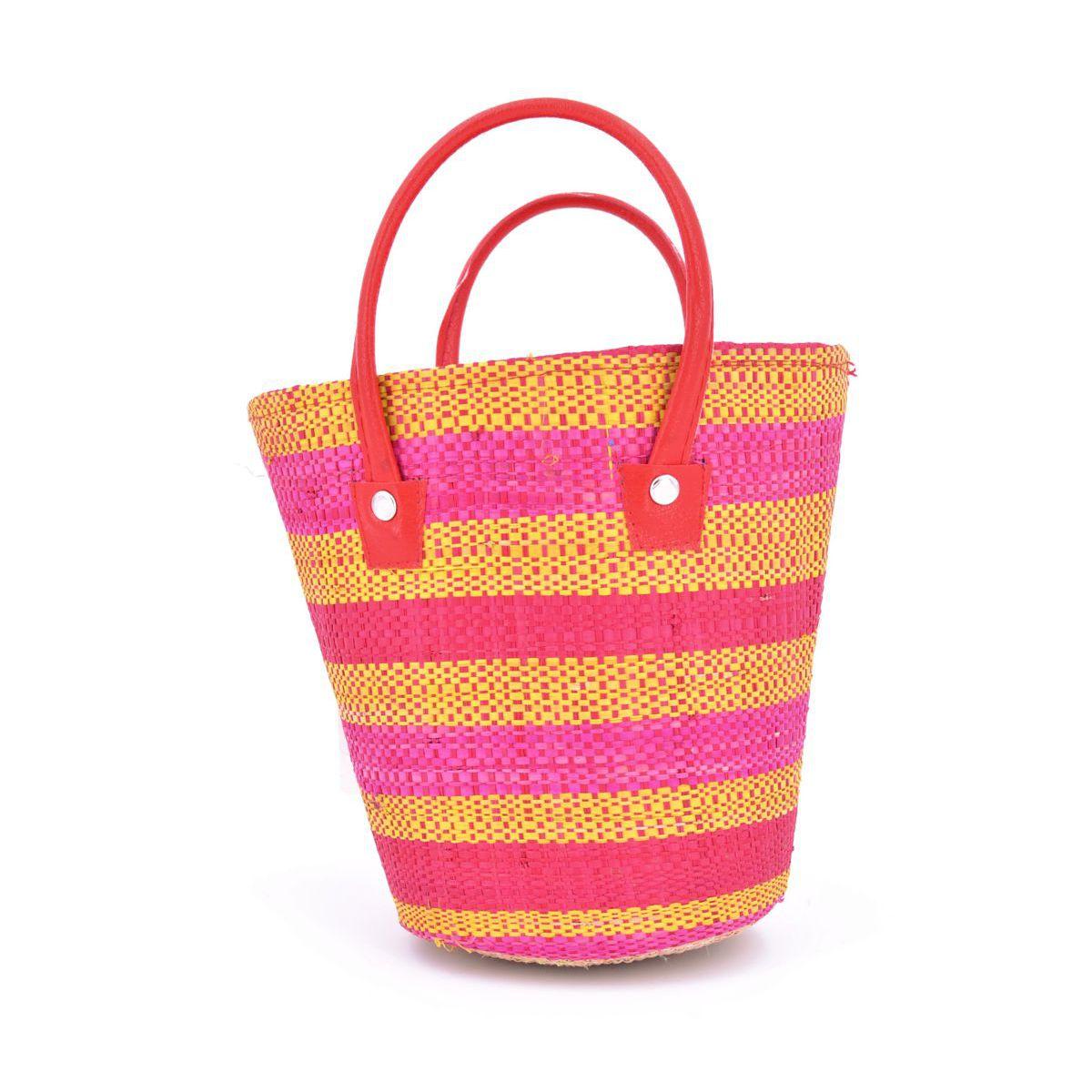 1. Round color raffia bag Orange VestoPazzo