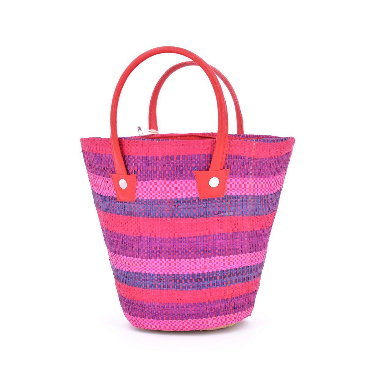 1. Round color raffia bag Purple VestoPazzo