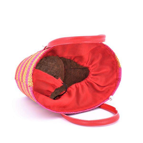 2. Round color raffia bag Orange VestoPazzo