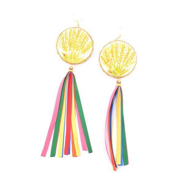 3. Mimose, Tamburine Earrings Yellow Tataratà Bijoux
