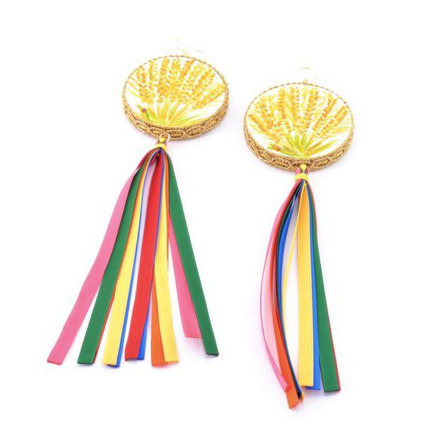 1. Mimose, Tamburine Earrings Yellow Tataratà Bijoux