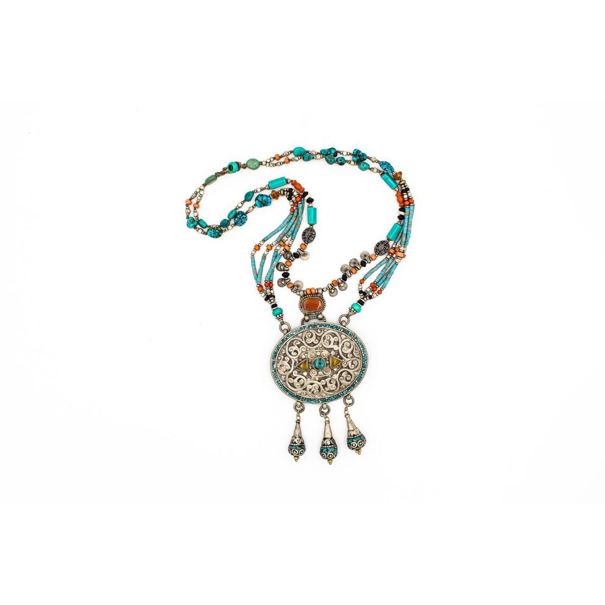 NECKLACE ETHNIC TURQUOISE AND CORAL Turquoise BRASS Gioielli