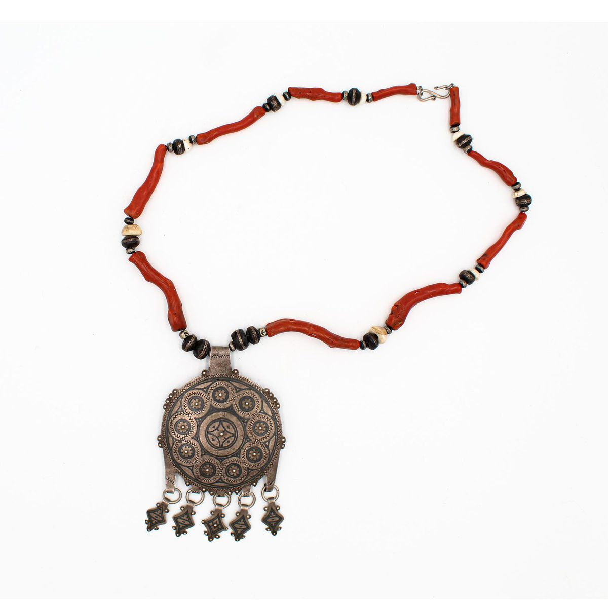 CORAL NECKLACE WITH MEDALLION Red BRASS Gioielli