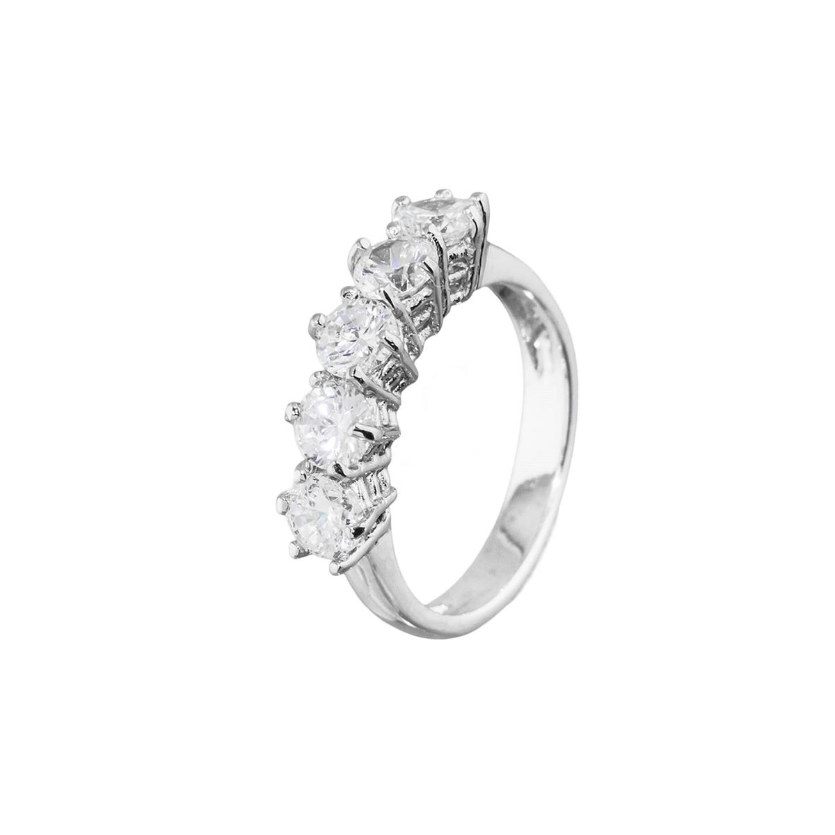 Rhodium-plated silver ring with zircons White BRASS Gioielli