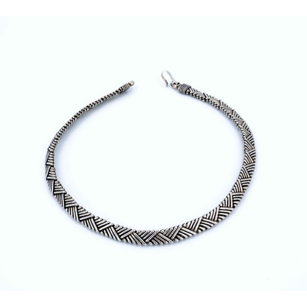 Silver intertwining necklace Burnished BRASS Gioielli