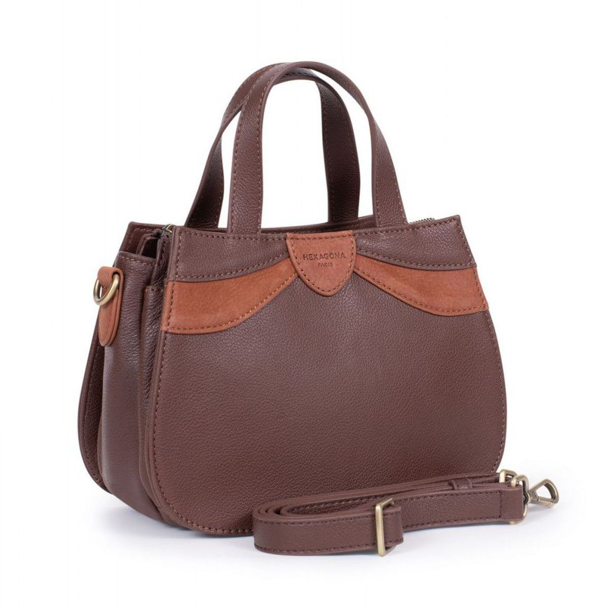 1. 2 handles leather bag Brown Hexagona