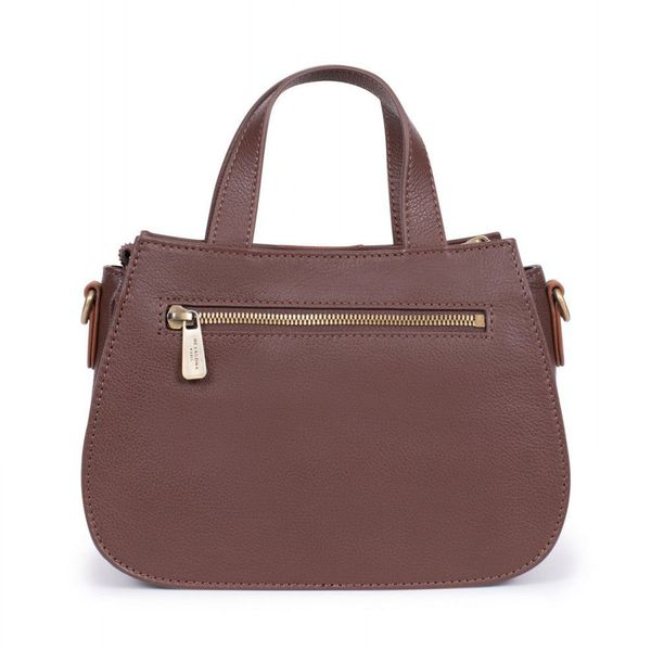 2. 2 handles leather bag Brown Hexagona