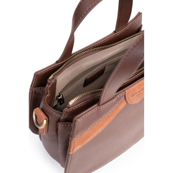 4. 2 handles leather bag Brown Hexagona