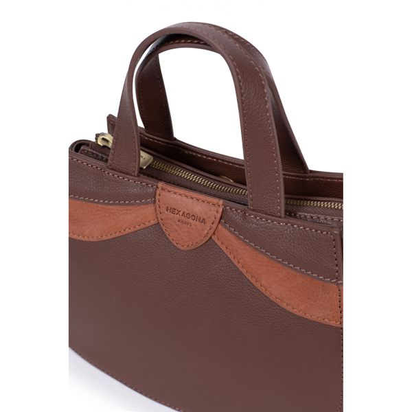 3. 2 handles leather bag Brown Hexagona