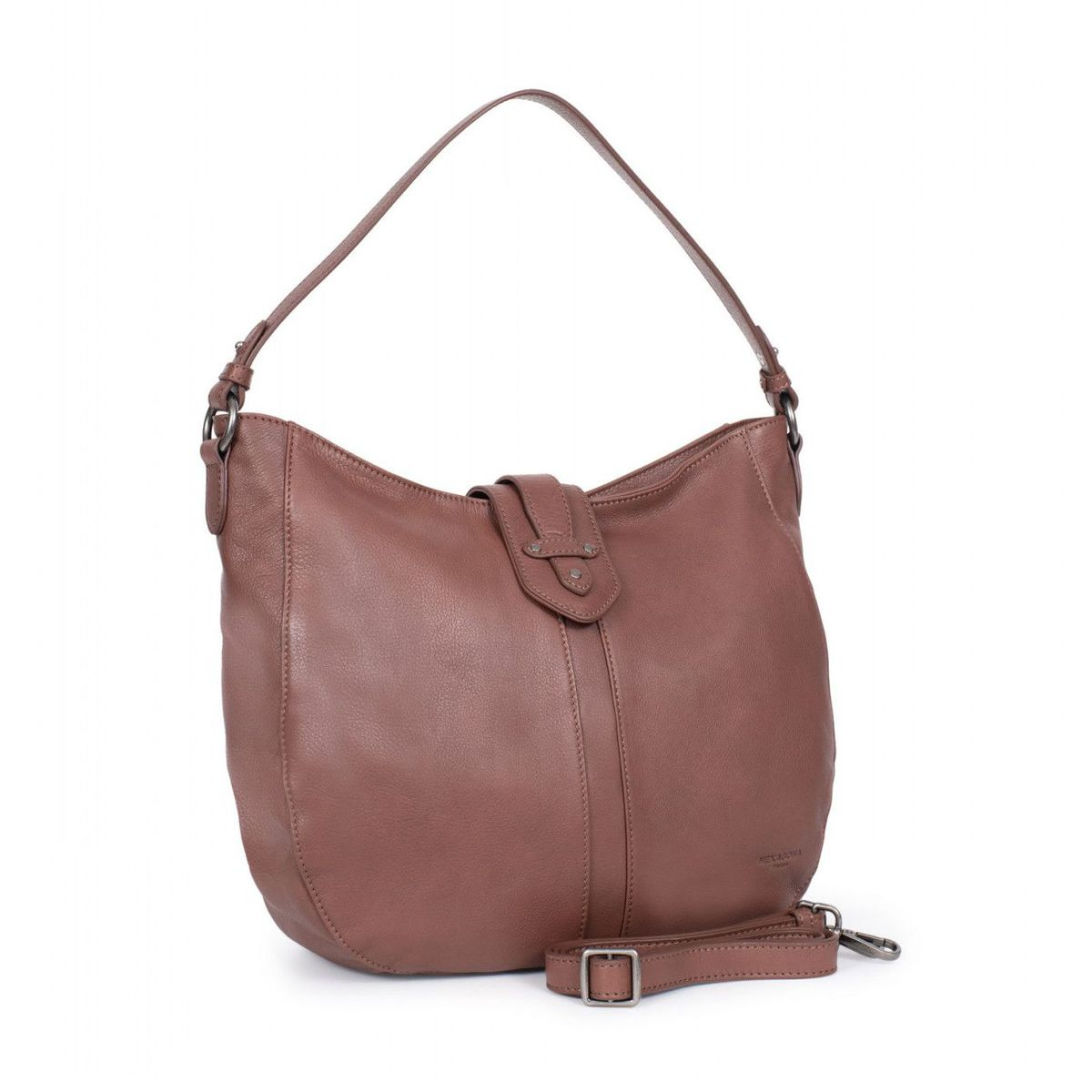 1. Cowhide leather bag Brown Hexagona