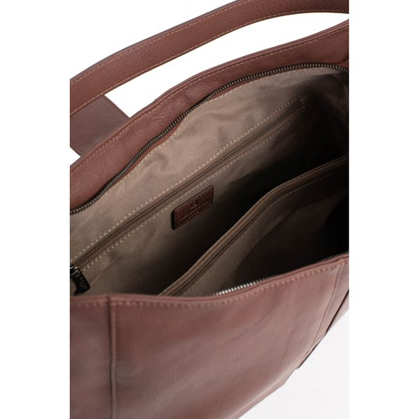 3. Cowhide leather bag Brown Hexagona