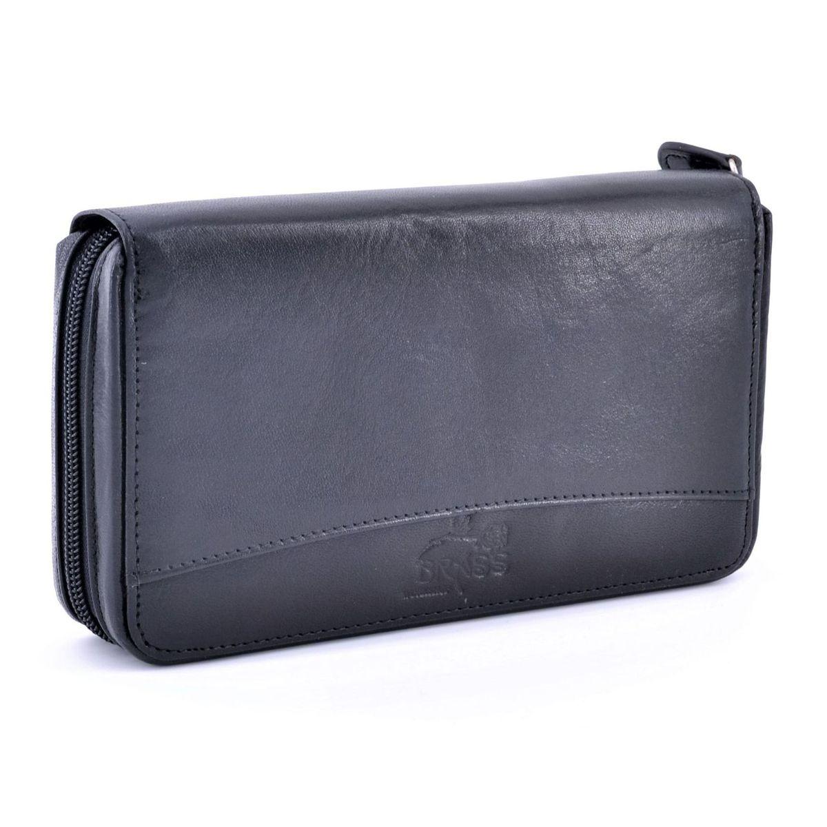 Max women's leather wallet Black BRASS Workshop