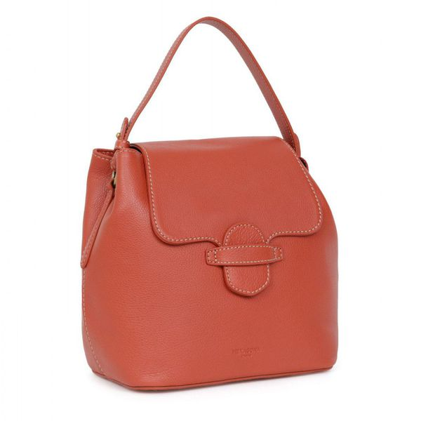 1. Two-in-one leather backpack bag Orange Hexagona