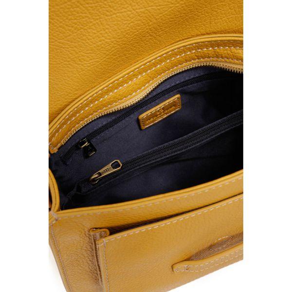 4. Leather bag 1 handle and adjustable shoulder strap Mustard Hexagona