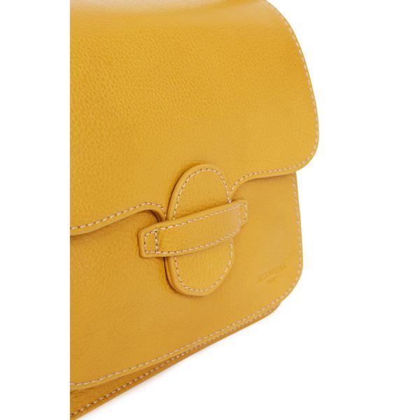 3. Leather bag 1 handle and adjustable shoulder strap Mustard Hexagona