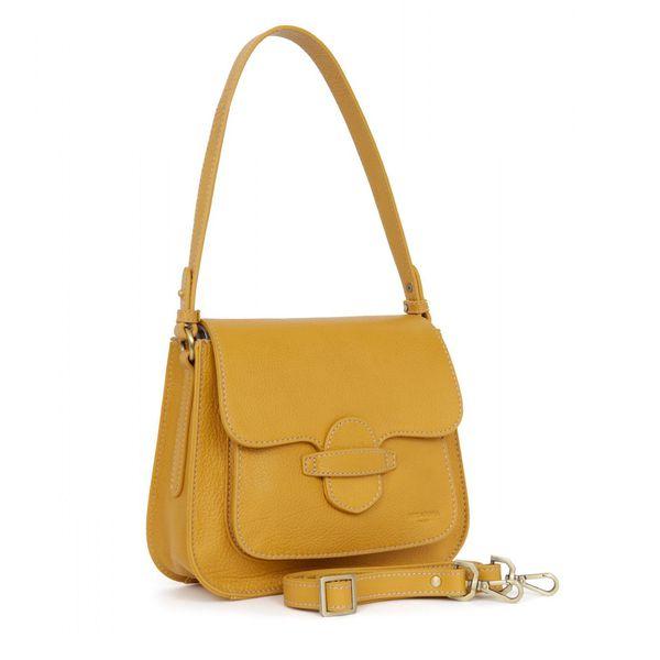1. Leather bag 1 handle and adjustable shoulder strap Mustard Hexagona